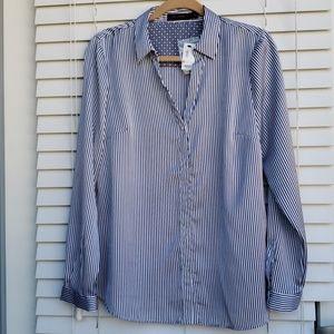 NWT Limited blue stripe long sleeve shirt, size L